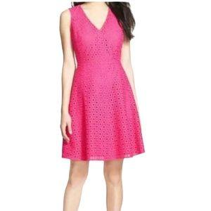 Halogen Eyelet Fit & Flare Dress Pink Size 12